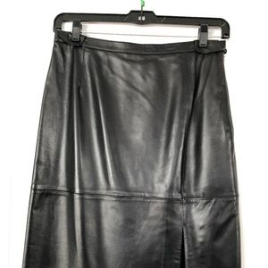 Beautiful Black Leather Pencil Skirt with Slit